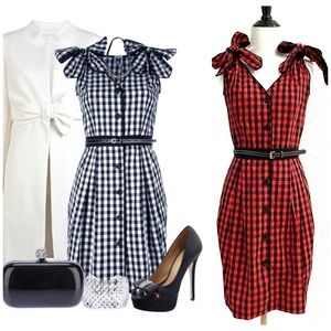 NWT M Missoni Gingham Red Black Plaid Belted Dress